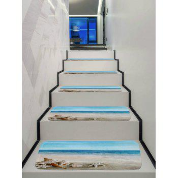 Beach Starfish Conch Print Decorative Stair Floor Rugs - multicolor 5PCS:28*9 INCH
