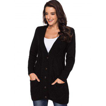 Button Up Front Pockets Cardigan - BLACK S