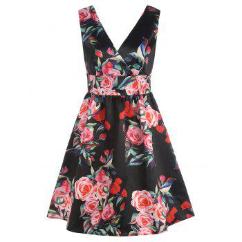 V Back Floral Print Sleeveless Surplice Dress - BLACK L