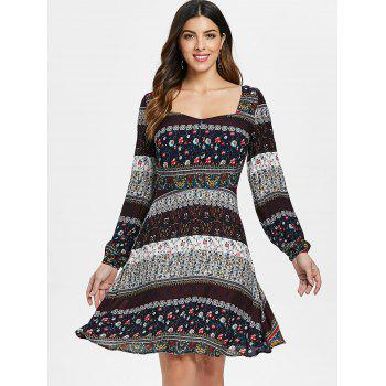 Bohemian Sweetheart Neck Floral Print Dress - multicolor XL