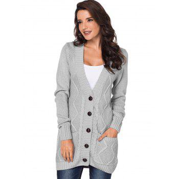 Button Up Front Pockets Cardigan - LIGHT GRAY M
