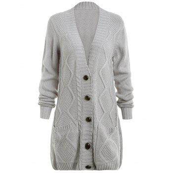 Button Up Front Pockets Cardigan - LIGHT GRAY L