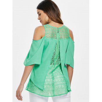 Lace Insert High Low Blouse - BLUE GREEN 2XL