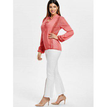 Lace Panel Top with Tie - WATERMELON PINK S
