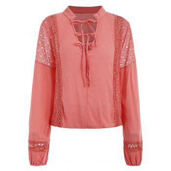 Lace Panel Top with Tie - WATERMELON PINK 2XL