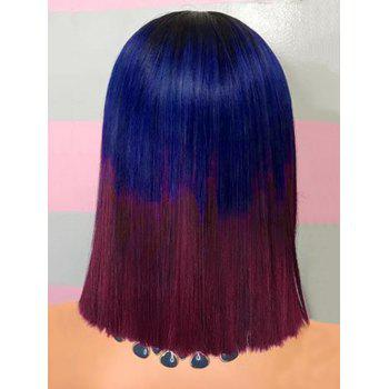 Medium Center Parting Ombre Straight Synthetic Party Cosplay Wig - multicolor