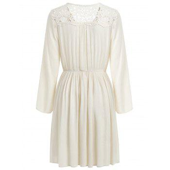 Lace Up Embroidered Dress - NATURAL WHITE S