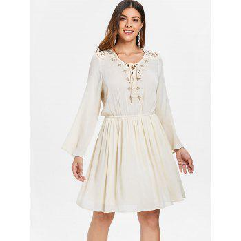 Lace Up Embroidered Dress - NATURAL WHITE L
