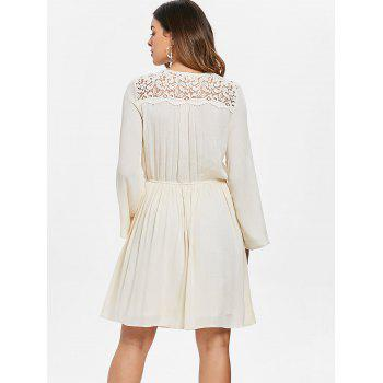 Lace Up Embroidered Dress - NATURAL WHITE M