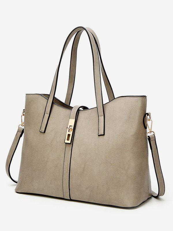 Casual Shopping Shoulder Bag - LIGHT KHAKI HORIZONTAL