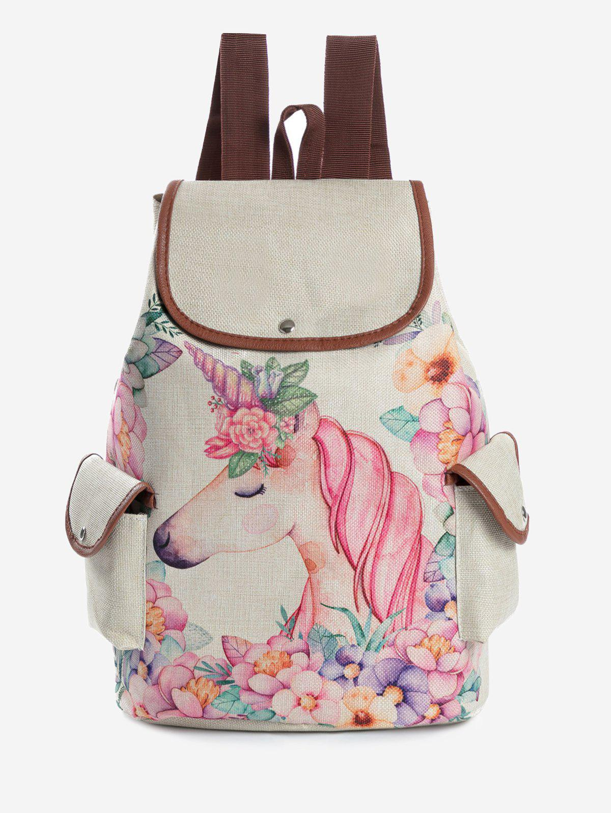 Patchwork Unicorn Print Chic Backpack - WARM WHITE