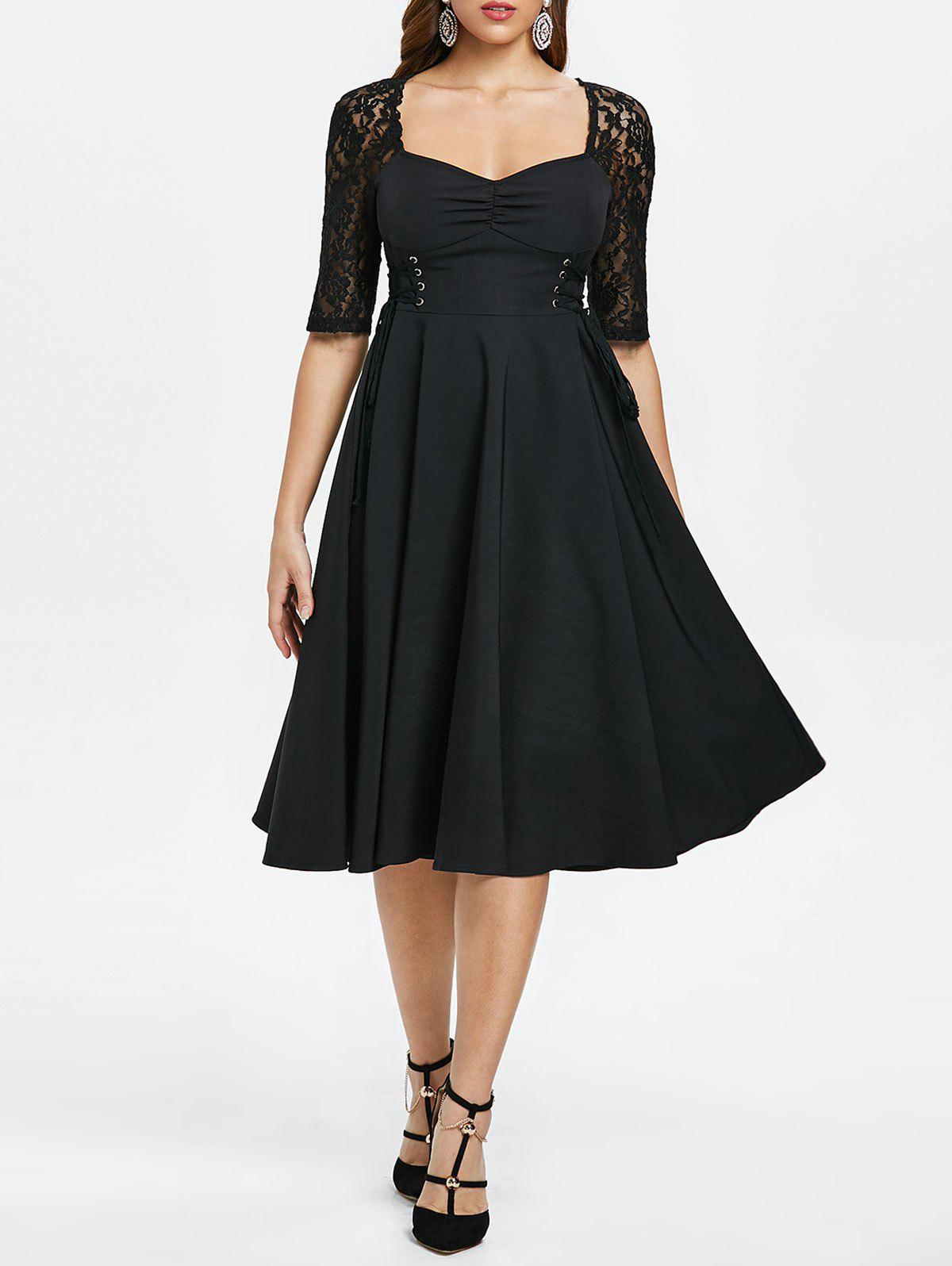 Criss Cross Lace Sleeve Retro Flare Dress - BLACK XL