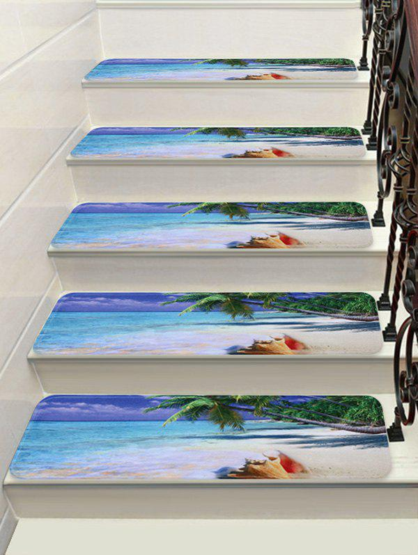Sea Beach Printed Decorative Stair Floor Rugs - multicolor 5PCS:28*9 INCH
