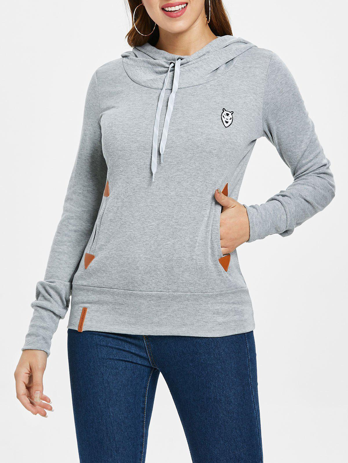 Embroidered Drawstring Pocket Design Hoodie - LIGHT GRAY M