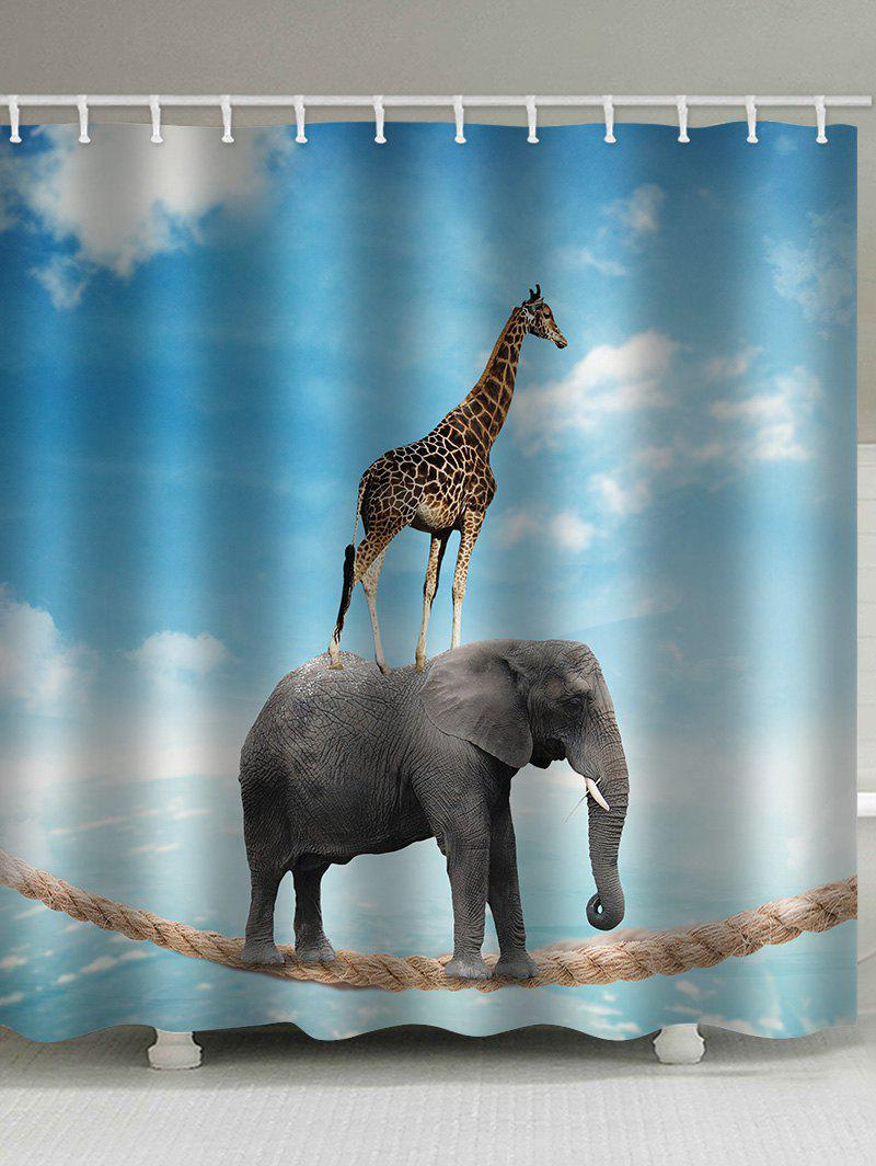 Elephant Acrobatics Print Waterproof Shower Curtain - DAY SKY BLUE W71 INCH * L79 INCH