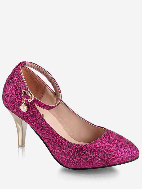 Plus Size Pointed Toe Sequins Ankle Strap Pumps - ROSE RED 40