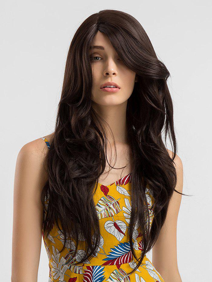 Long Lace Front Synthetic Side Parting Wavy Wig - BROWN