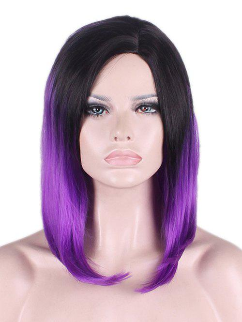 Medium Side Parting Straight Bob Ombre Synthetic Cosplay Wig - PURPLE
