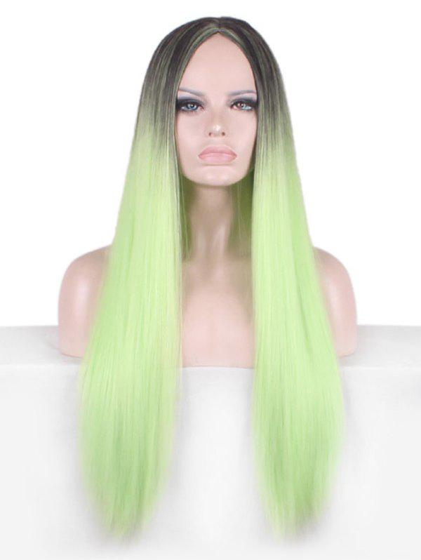 Middle Part Long Colormix Straight Synthetic Party Cosplay Wig - GREEN APPLE