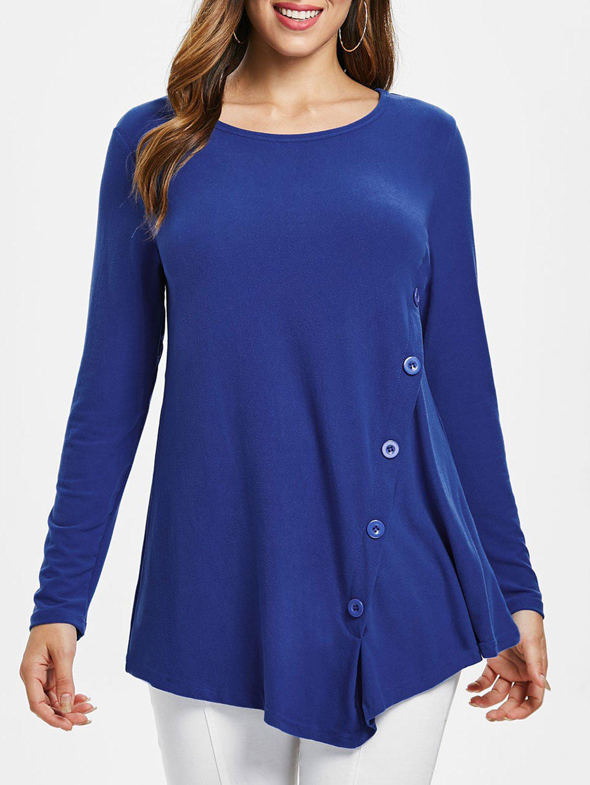 Button Embellished Asymmetrical T-shirt - BLUE M