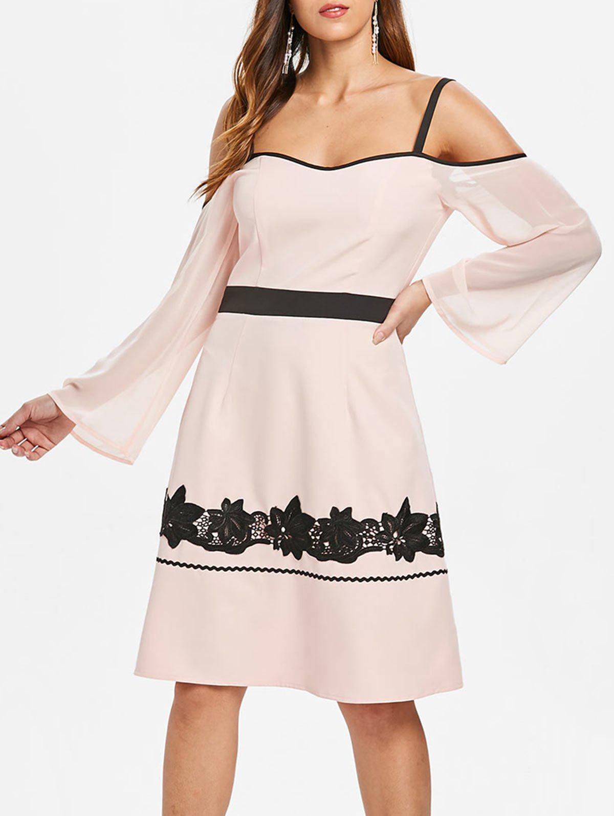 Color Block Lace Spaghetti Strap Dress - PINK BUBBLEGUM S