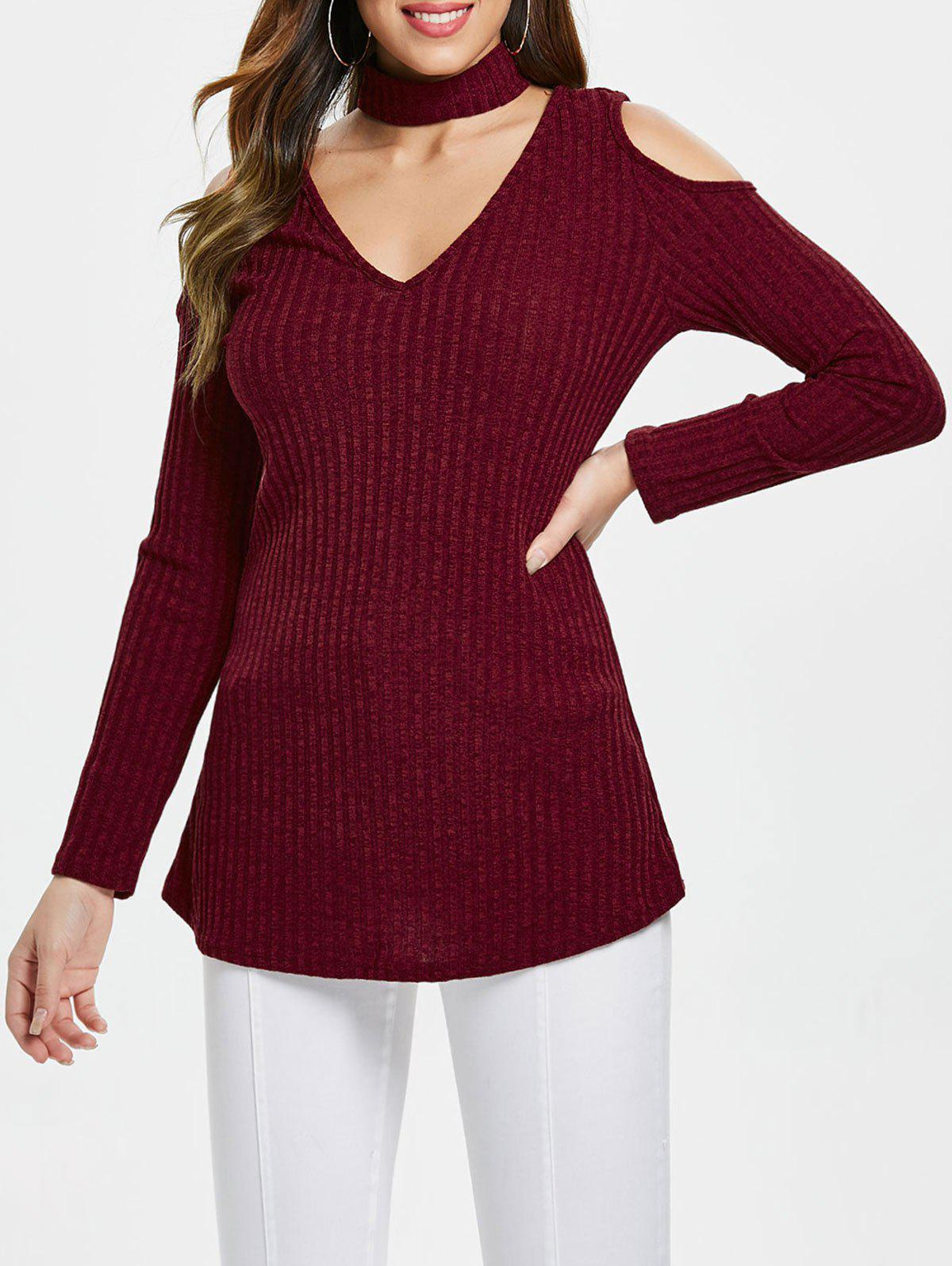 V Neck Cold Shoulder Tunic Top - RED WINE XL