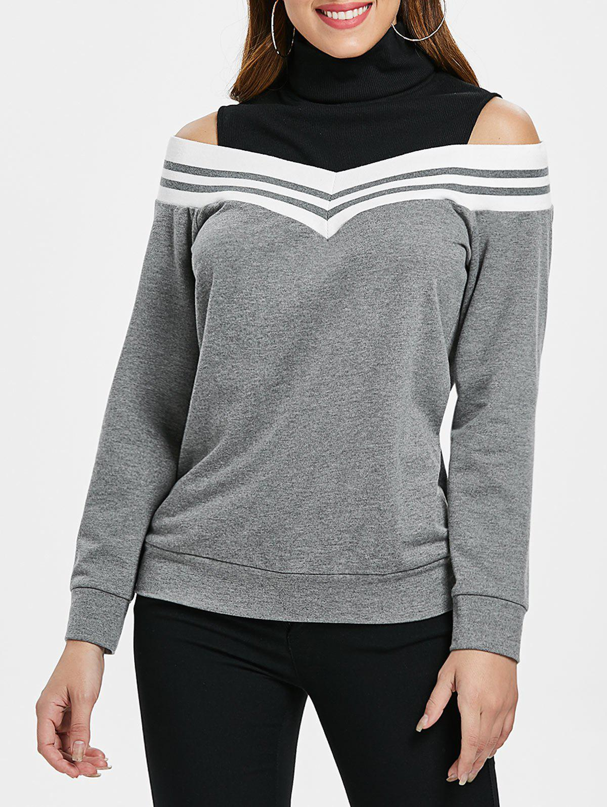 Elastic Striped Brim Shoulder Cut Panel Sweatshirt - GRAY GOOSE L
