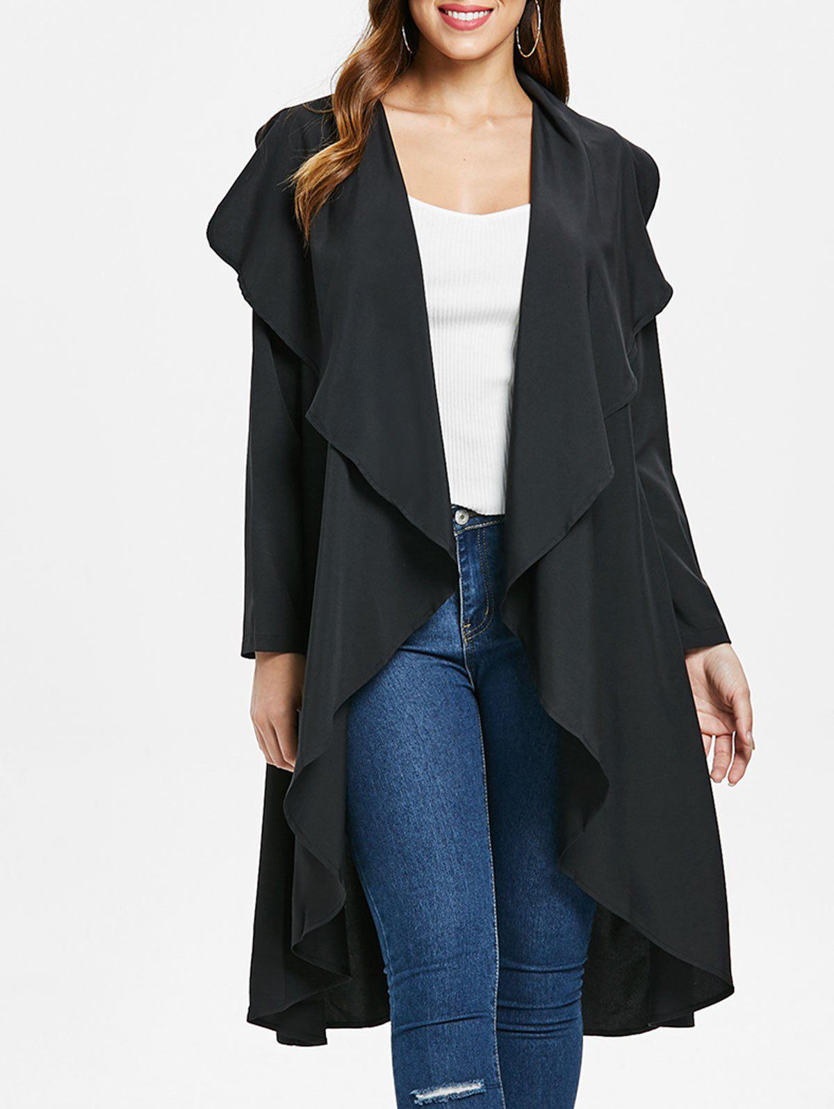 Ruffle-front Waterfall Coat - BLACK S