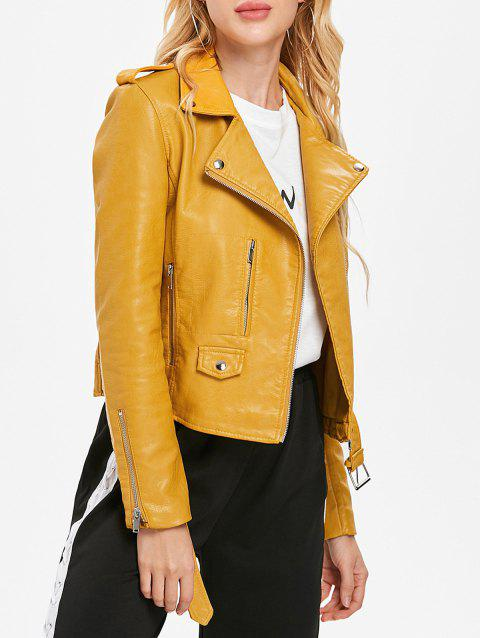 Faux Leather Oblique Zipper Biker Jacket - BRIGHT YELLOW M