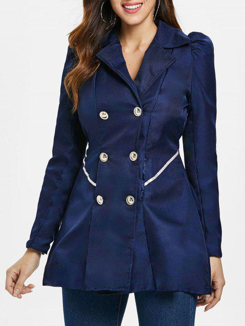 Fit and Flare Double Breasted Coat - CADETBLUE XL