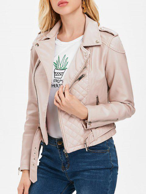 Faux Leather Oblique Zipper Jacket - PINK M