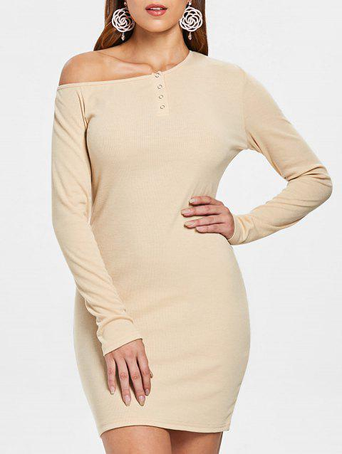 Long Sleeve Ribbed Bodycon Dress - APRICOT L