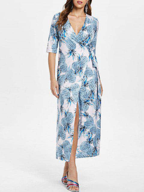 Pineapple Printed Long Wrap Dress - multicolor L