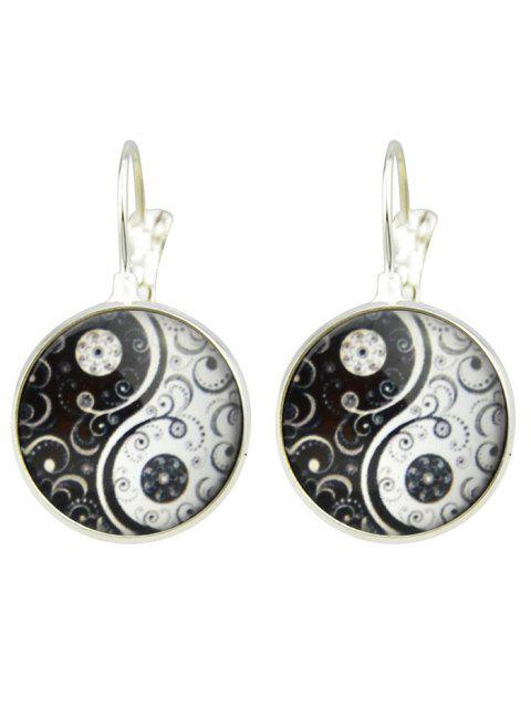 Tai Chi Glass Clip Earrings - SILVER