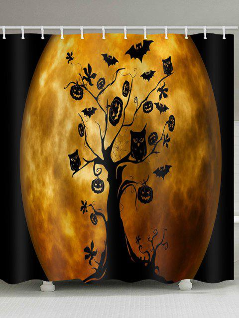 Moon Halloween Tree Print Waterproof Shower Curtain - ORANGE W71 INCH * L71 INCH