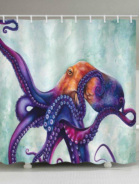 Colorful Octopus Print Waterproof Shower Curtain - multicolor W65 INCH * L71 INCH