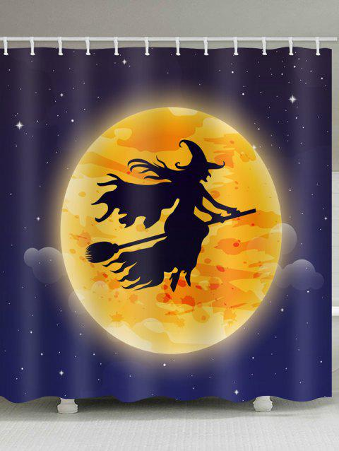 Halloween Moon Witch Print Waterproof Shower Curtain - multicolor W71 INCH * L79 INCH