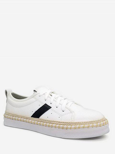 Round Toe Sewing Platform Sneakers - WHITE 40