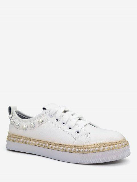 Casual Lace Up Sewing Platform Sneakers - WHITE 39