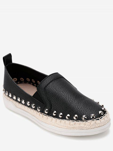 PU Leather Round Toe Loafers Sneakers - BLACK 37