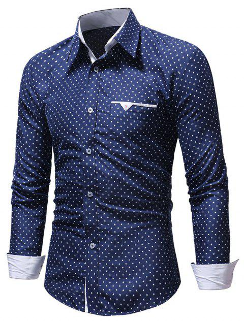 Litttle Stars Print Chest Pocket Button Down Shirt - BLUE S