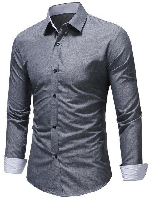 Textured Print Edge Patch Detail Casual Shirt - GRAY L