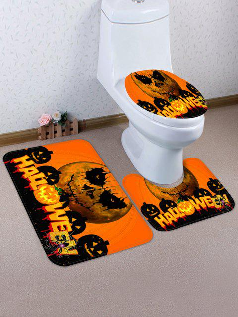 Halloween Pumpkins Pattern 3 Pcs Toilet Mat Set - HALLOWEEN ORANGE
