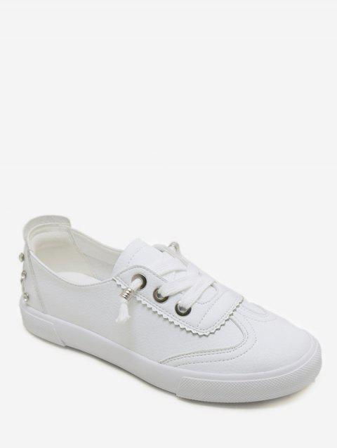 Round Toe Low Top Loafers Sneakers - WHITE 35