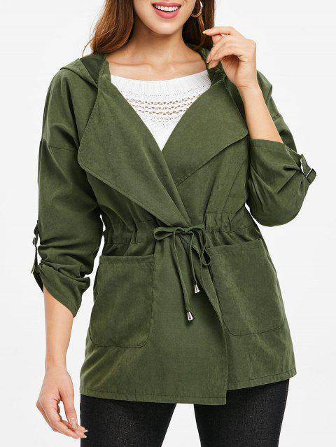 Hooded Drawstring Open Front Coat - ARMY GREEN L