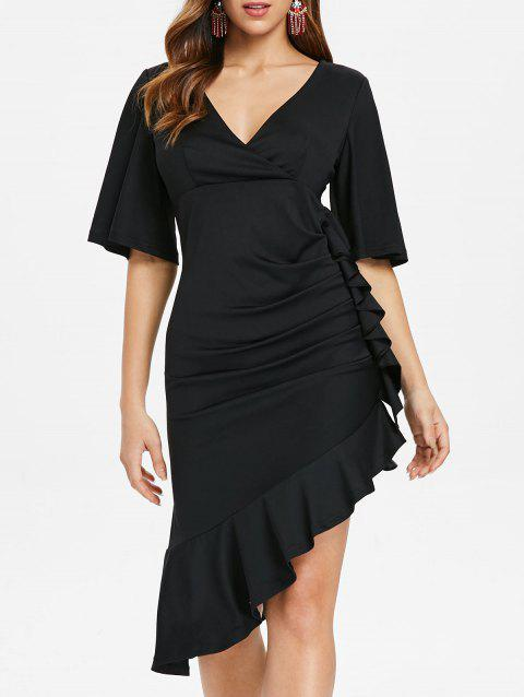 Plunging Neckline Half Sleeve Flounce Dress - BLACK L