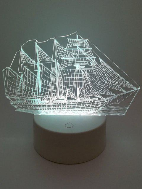 3D Boat Ombre Vision Changing LED Lamp - WHITE