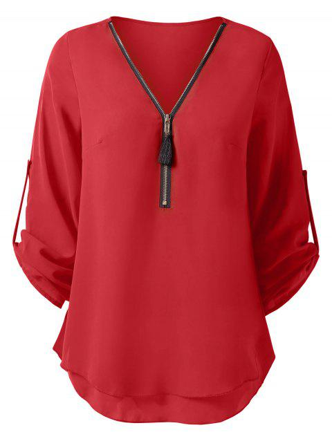 Half Zip Roll Up Sleeves Blouse - RED M