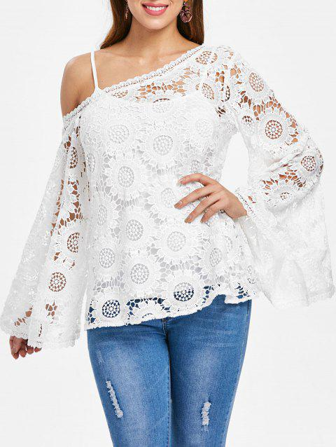 Asymmetrical Flare Sleeve Openwork Crocheted Blouse - WHITE M