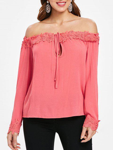 Crocheted Panel Off Shoulder Long Sleeve Blouse - VALENTINE RED L